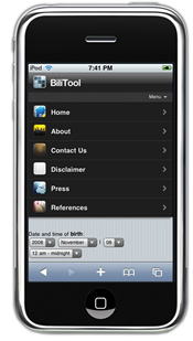 Bilitool for iPhone - Menu